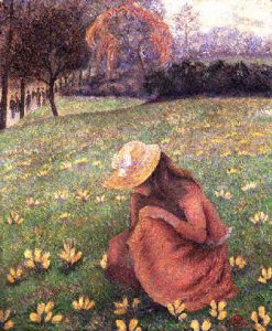 Image of girl picking flowers, Pissarro